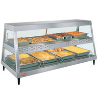 Hatco GRHDH-4PD Stainless Steel Glo-Ray 59 3/8 inch Full Service Dual Shelf Merchandiser with Humidity Chamber - 120/208V