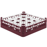 Vollrath 52718 Signature Full-Size Burgundy 16-Compartment 4 5/16 inch Medium Glass Rack