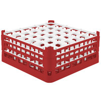 Vollrath 52716 Signature Full-Size Red 36-Compartment 7 1/8 inch X-Tall Glass Rack