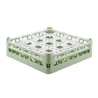 Vollrath 52718 Signature Full-Size Light Green 16-Compartment 4 5/16 inch Medium Glass Rack