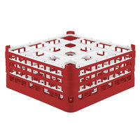 Vollrath 52720 Signature Full-Size Red 16-Compartment 7 1/8 inch X-Tall Glass Rack
