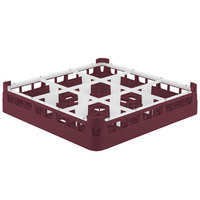 Vollrath 52726 Signature Full-Size Burgundy 9-Compartment 2 13/16 inch Short Glass Rack