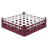 Vollrath 52714 Signature Full-Size Burgundy 36-Compartment 4 5/16 inch Medium Glass Rack