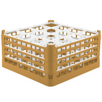 Vollrath 52721 Signature Full-Size Gold 16-Compartment 8 1/2 inch XX-Tall Glass Rack