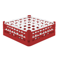 Vollrath 52715 Signature Full-Size Red 36-Compartment 5 11/16 inch Tall Glass Rack