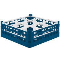 Vollrath 52728 Signature Full-Size Royal Blue 9-Compartment 5 11/16 inch Tall Glass Rack