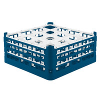 Vollrath 52720 Signature Full-Size Royal Blue 16-Compartment 7 1/8 inch X-Tall Glass Rack