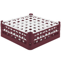Vollrath 52723 Signature Full-Size Burgundy 49-Compartment 5 11/16 inch Tall Glass Rack
