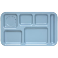 Carlisle 4398259 Melamine Space Saver 9 inch x 15 inch Slate Right Hand 6 Compartment Tray