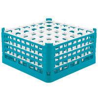 Vollrath 52717 Signature Full-Size Light Blue 36-Compartment 8 1/2 inch XX-Tall Glass Rack
