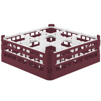 Vollrath 52728 Signature Full-Size Burgundy 9-Compartment 5 11/16 inch Tall Glass Rack
