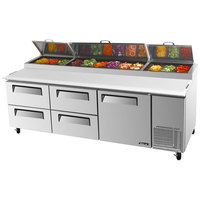 Turbo Air TPR-93SD-D4 93 inch Pizza Prep Table with One Door and Four Drawers