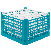Vollrath 52757 Signature Lemon Drop Full-Size Light Blue 20-Compartment 11 3/8 inch XXXX-Tall Glass Rack