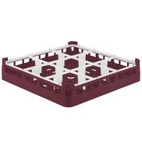 Vollrath 5276099 Signature Full-Size Burgundy 9-Compartment 3 1/4 inch Short Plus Glass Rack