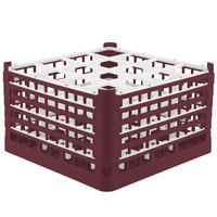 Vollrath 52732 Signature Full-Size Burgundy 16-Compartment 9 15/16 inch XXX-Tall Glass Rack