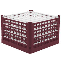 Vollrath 52740 Signature Full-Size Burgundy 49-Compartment 11 3/8 inch XXXX-Tall Glass Rack