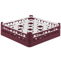 Vollrath 52761 Signature Full-Size Burgundy 9-Compartment 4 13/16 inch Medium Plus Glass Rack