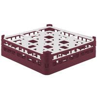 Vollrath 52761 Signature Full-Size Burgundy 9-Compartment 4 13/16 inch Medium Plus Glass Rack