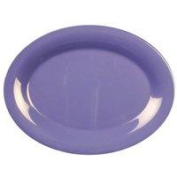 Thunder Group CR209BU 9 1/2 inch x 7 1/4 inch Oval Purple Platter - 12/Pack