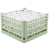 Vollrath 52754 Signature Lemon Drop Full-Size Light Green 20-Compartment 9 15/16 inch XXX-Tall Glass Rack