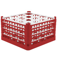 Vollrath 52732 Signature Full-Size Red 16-Compartment 9 15/16 inch XXX-Tall Glass Rack