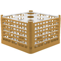 Vollrath 52736 Signature Full-Size Gold 9-Compartment 11 3/8 inch XXXX-Tall Glass Rack