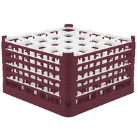 Vollrath 52733 Signature Full-Size Burgundy 25-Compartment 9 15/16 inch XXX-Tall Glass Rack