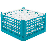 Vollrath 52754 Signature Lemon Drop Full-Size Light Blue 20-Compartment 9 15/16 inch XXX-Tall Glass Rack