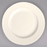 Homer Laughlin 21000 12 1/4 inch Ivory (American White) Rolled Edge China Plate - 12/Case