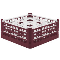 Vollrath 52730 Signature Full-Size Burgundy 9-Compartment 7 1/8 inch X-Tall Glass Rack