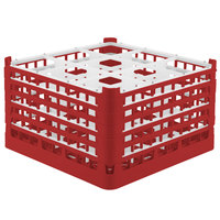 Vollrath 52731 Signature Full-Size Red 9-Compartment 9 15/16 inch XXX-Tall Glass Rack