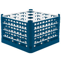 Vollrath 52737 Signature Full-Size Royal Blue 16-Compartment 11 3/8 inch XXXX-Tall Glass Rack