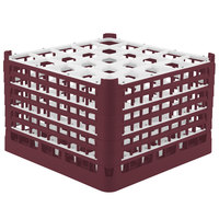 Vollrath 52738 Signature Full-Size Burgundy 25-Compartment 11 3/8 inch XXXX-Tall Glass Rack