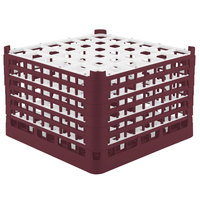 Vollrath 52739 Signature Full-Size Burgundy 36-Compartment 11 3/8 inch XXXX-Tall Glass Rack
