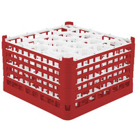 Vollrath 52755 Signature Lemon Drop Full-Size Red 20-Compartment 10 9/16 inch XXX-Tall Plus Glass Rack
