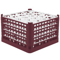 Vollrath 52757 Signature Lemon Drop Full-Size Burgundy 20-Compartment 11 3/8 inch XXXX-Tall Glass Rack