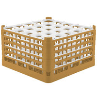 Vollrath 52733 Signature Full-Size Gold 25-Compartment 9 15/16 inch XXX-Tall Glass Rack