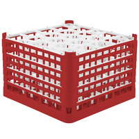 Vollrath 52757 Signature Lemon Drop Full-Size Red 20-Compartment 11 3/8 inch XXXX-Tall Glass Rack