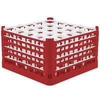 Vollrath 52733 Signature Full-Size Red 25-Compartment 9 15/16 inch XXX-Tall Glass Rack
