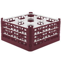 Vollrath 52729 Signature Full-Size Burgundy 9-Compartment 8 1/2 inch XX-Tall Glass Rack