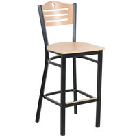 Lancaster Table & Seating Natural Finish Bar Height Bistro Chair - Eagle Back