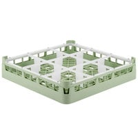 Vollrath 5276010 Signature Full-Size Light Green 9-Compartment 3 1/4 inch Short Plus Glass Rack