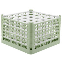 Vollrath 52738 Signature Full-Size Light Green 25-Compartment 11 3/8 inch XXXX-Tall Glass Rack