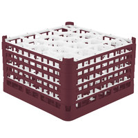 Vollrath 52754 Signature Lemon Drop Full-Size Burgundy 20-Compartment 9 15/16 inch XXX-Tall Glass Rack
