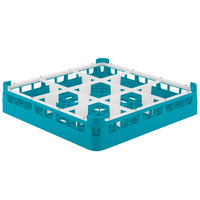 Vollrath 5276044 Signature Full-Size Light Blue 9-Compartment 3 1/4 inch Short Plus Glass Rack