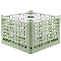 Vollrath 52736 Signature Full-Size Light Green 9-Compartment 11 3/8 inch XXXX-Tall Glass Rack