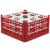 Vollrath 52729 Signature Full-Size Red 9-Compartment 8 1/2 inch XX-Tall Glass Rack