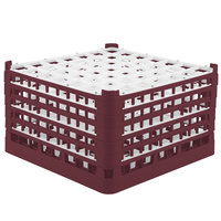 Vollrath 52735 Signature Full-Size Burgundy 49-Compartment 9 15/16 inch XXX-Tall Glass Rack
