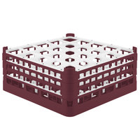 Vollrath 52775 Signature Full-Size Burgundy 25-Compartment 7 11/16 inch X-Tall Plus Glass Rack