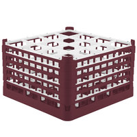 Vollrath 52771 Signature Full-Size Burgundy 16-Compartment 10 9/16 inch XXX-Tall Plus Glass Rack